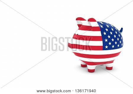 Us Flag Piggy Bank With White Copy Space 3D Illustration