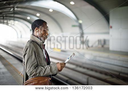 Businessman Using Mobile Railroad Transportation Concept