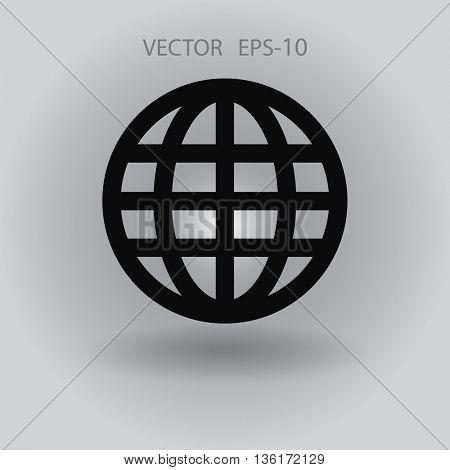 Flat icon of globe