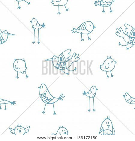 Seamless pattern with cute cartoon birds on white background. Vector contour image. Doodle style.
