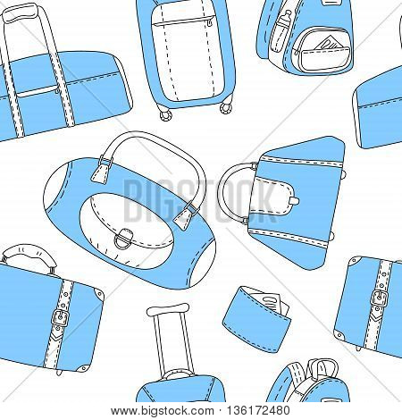 Black blue and white hand drawn travel bags seamless pattern, vector background