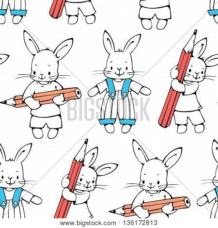 Seamless pattern with funny cartoon Bunnies. Hand-drawn illustration. Vector.