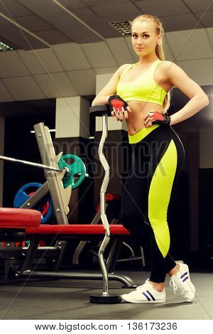 Beautiful athletic woman doing exercises with barbell. Healthy lifestyle. Sports, fitness, bodybuilding.