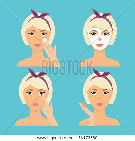 Girl Cleaning And Care Her Face With Various Actions Set. The result of using face skin care cosmetic product (cream mask). Skincare vector icons.
