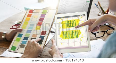 Hello Holiday Break Celebrate Enjoy Annual Concept