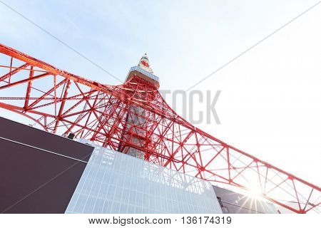 tokyo television tower in sunny sky