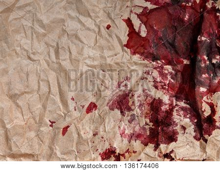 crumpled paper with blots . background .