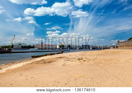 Panoramic view on Neva river and Exchange in Saint Petersburg