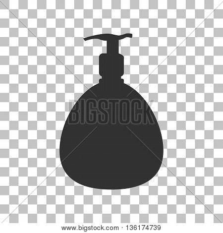 Gel, Foam Or Liquid Soap. Dispenser Pump Plastic Bottle silhouette. Dark gray icon on transparent background.