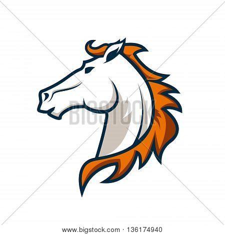 logo template with horse head. Sport team logo. Design elements for logo label emblem sign. Vector illustration.