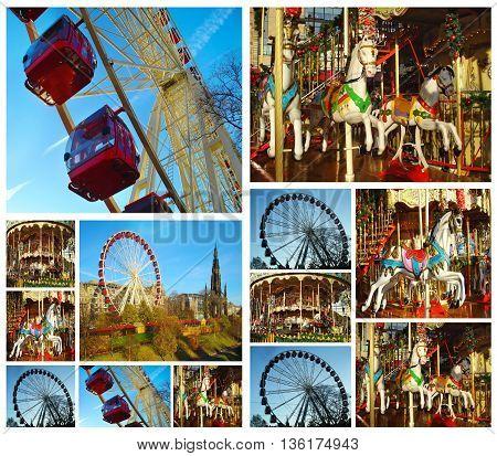 photo collage of luna park at Edinburgh Scotland - european luna park