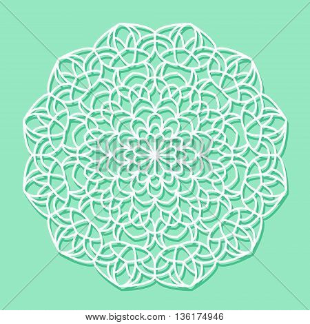 Beautiful mandala lace ornament on green background for cards or invitations. Vector illustration