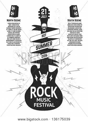 Music festival poster template. Guitar silhouette isolated on white background. Design elements for flyer poster emblem sign. Vector illustration.