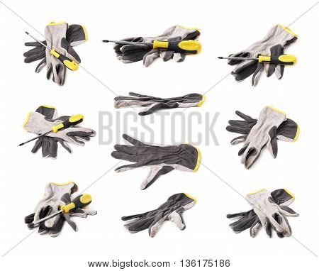 Working gloves and screwdriver composition isolated over the white background, set of multiple different foreshortenings