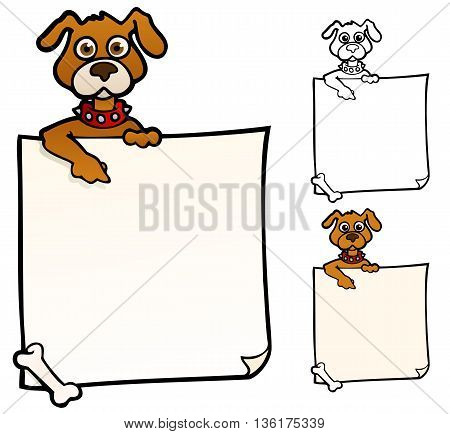 Doggie with a sign, to use as a background or border