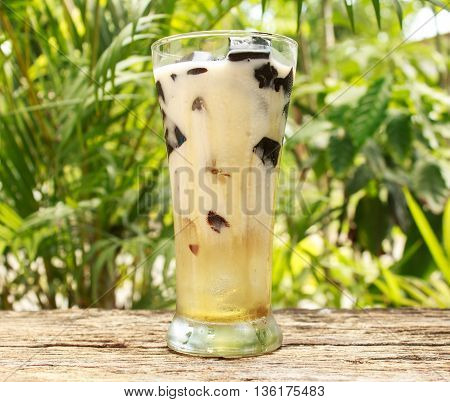 Soy milk grass Jelly on old wooden