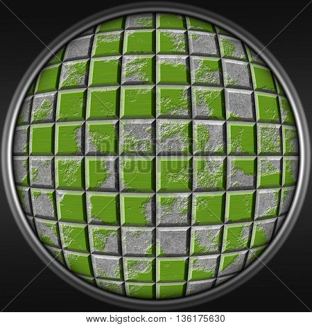 Abstract decorative metal green sphere - square 3D pattern
