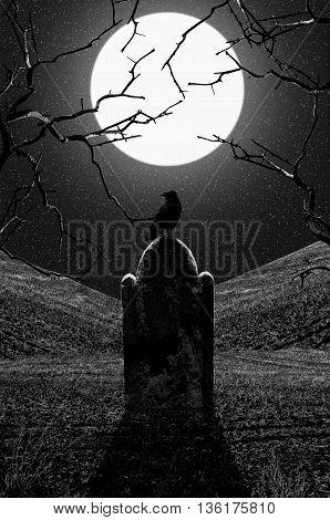 Raven on gravestone at midnight. Graveyard at night. Halloween concept. Gothic concept. Midnight gothic background