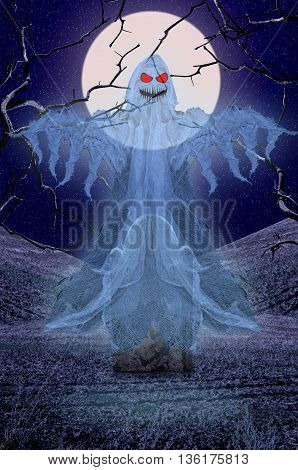 Halloween background with ghostly figure and cemetery. Scary ghost. Graveyard at night. Halloween concept.