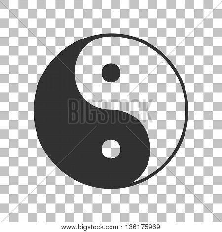 Ying yang symbol of harmony and balance. Dark gray icon on transparent background.