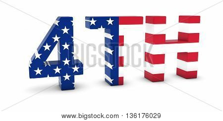 4Th Of July American Independence Day Us Flag Text 3D Illustration