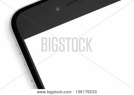 Smartphone close-up is on a white background isolated