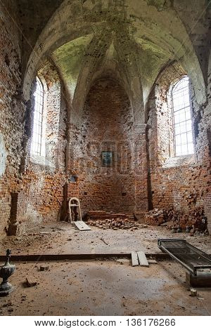 interior of Burned XVII century church of St. Michael the Archangel in Stara Sil - Western Ukraine