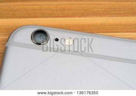 UFA RUSSIA - 26 JUNE 2016: iPhone 6 Plus is a smartphone developed by Apple Inc. The camera is slightly scratched close-up iPhone 6 Plus