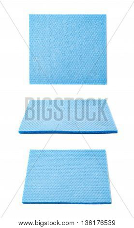 Blue kitchen wipe square cloth isolated over the white background, set of three different foreshortenings