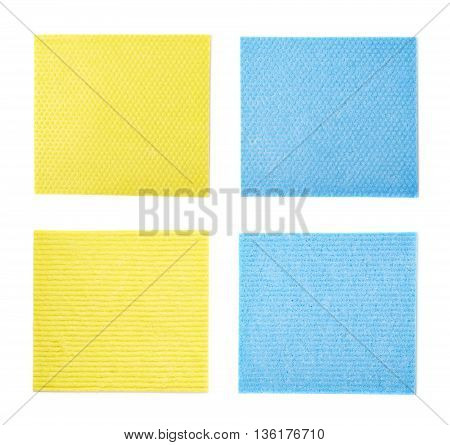 Yellow and blue kitchen wipe square cloth isolated over the white background, set of two different foreshortenings