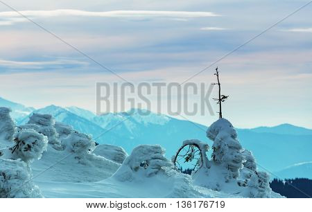 Snow covered mountains in winter