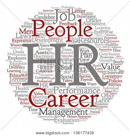 Concept conceptual hr or human resources management abstract round word cloud isolated on background