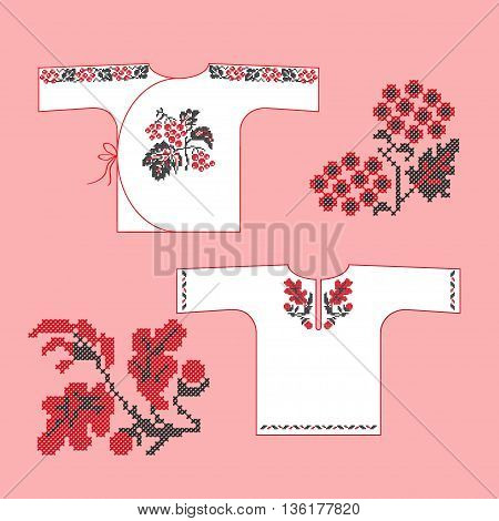 Traditional Ukrainian embroidered children's shirts with ornaments viburnum and oak. Vector illustration.