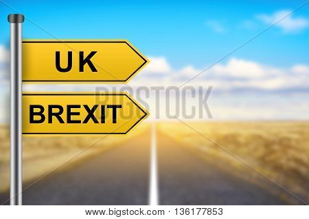 brexit or british exit words on yellow road sign with blurred background