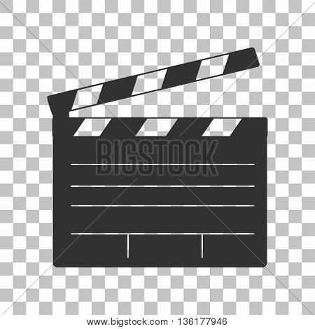 Film clap board cinema sign. Dark gray icon on transparent background.