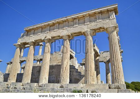 temple of Aphaia in Aegina island Saronic Gulf Greece