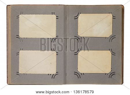 Old photo album with empty photo frames. The template for simulation a vintage album with old photos.
