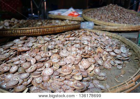 Betel Nuts in Baskets at a market in Myanmar