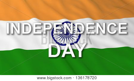 Indian Independence Day Flag Text 3D Illustration