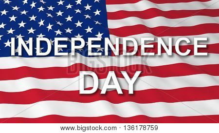 American Independence Day Flag 3D Illustration Background