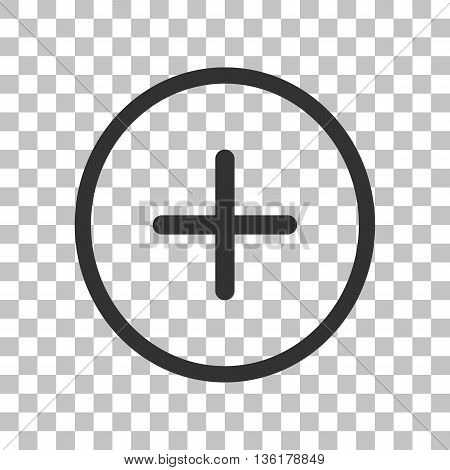 Positive symbol plus sign. Dark gray icon on transparent background.