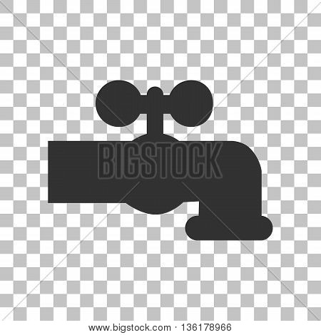 Water faucet sign illustration. Dark gray icon on transparent background.