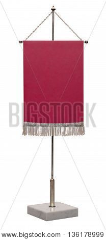 Empty red pennant. Pennant on steel spire on a marble pedestal isolated on white background no shadow.