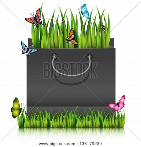 Paper shopping bag with fragment of grass on the lawn peace with butterflies. Vector illustration.