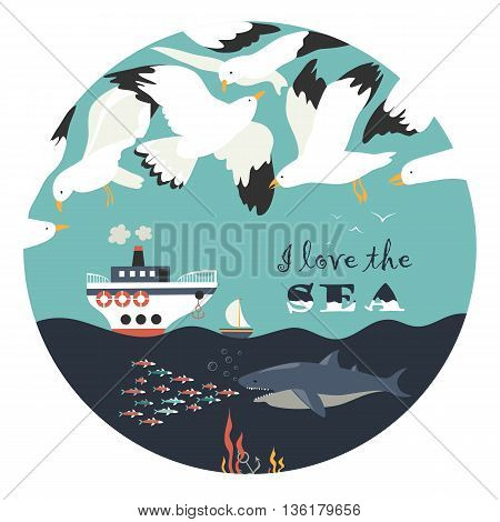 Seagulls flying over the sea. Vector illustration