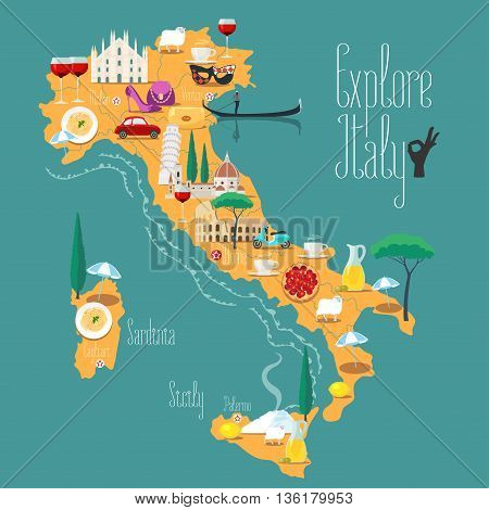 Map of Italy vector illustration design. Icons with Italian Colosseum pizza wine cathedral. Sicilia and Sardinia islands. Explore Italy concept image