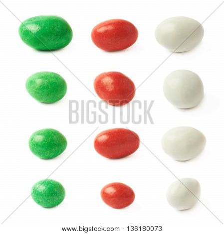 Chocolate peanut candy covered with a frosting glaze isolated over the white background, set of three colors, each in four foreshortenings