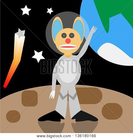Cartoon alien standing in the outer space. Vector illustration. EPS10