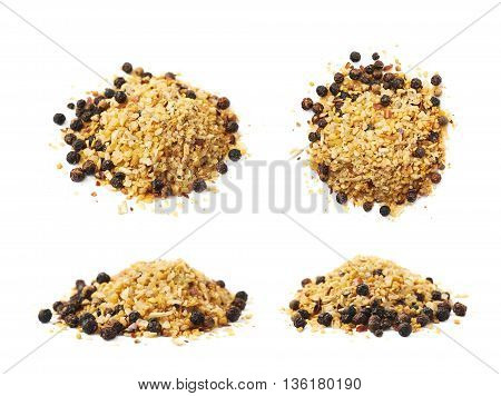 Pile of garlic and pepper seasoning isolated over the white background, set collection of four different foreshortenings