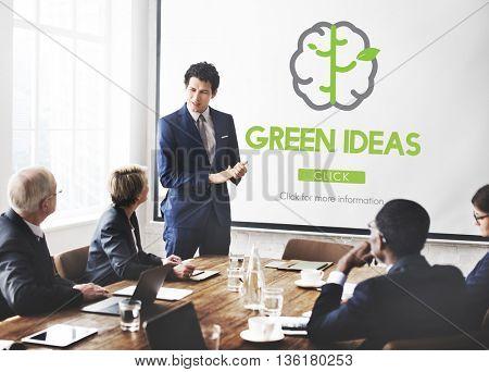 Think Green Go Green Brain Concept